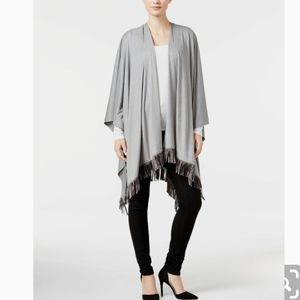 INC International Concepts Fringe Suede Poncho NWT